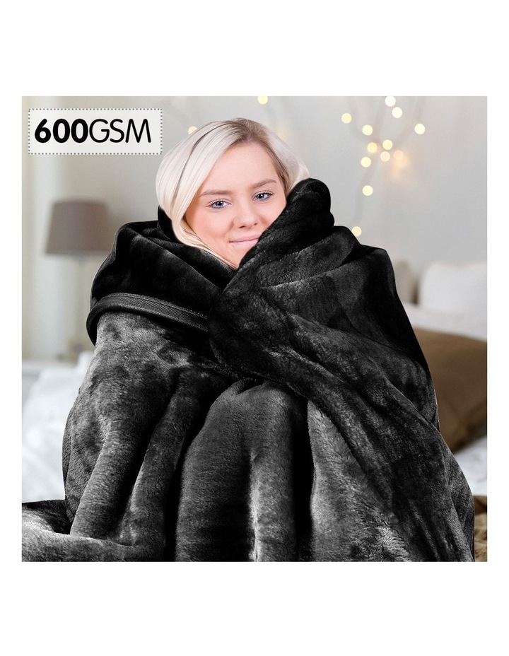 Mink Blanket Black Double Sided Queen Size Soft Plush Bed Faux Throw Rug image 2