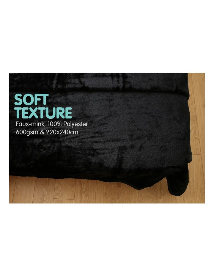 Mink Blanket Black Double Sided Queen Size Soft Plush Bed Faux Throw Rug image 3