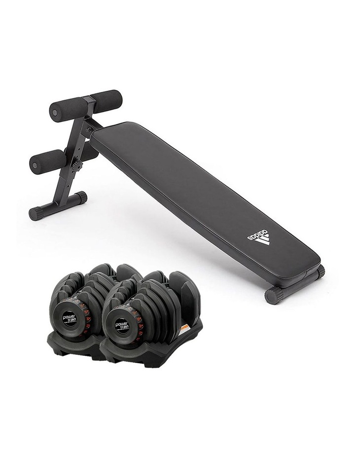 2x 40kg Adjustable Dumbbell Home Gym Exercise Equipment with adidas 10433 bench image 1