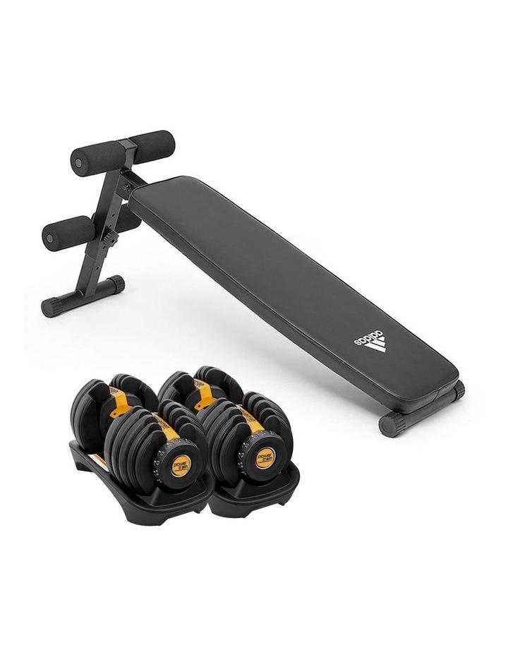 2x 24kg Adjustable Dumbbells with Adidas 10433 Bench - Gold image 1