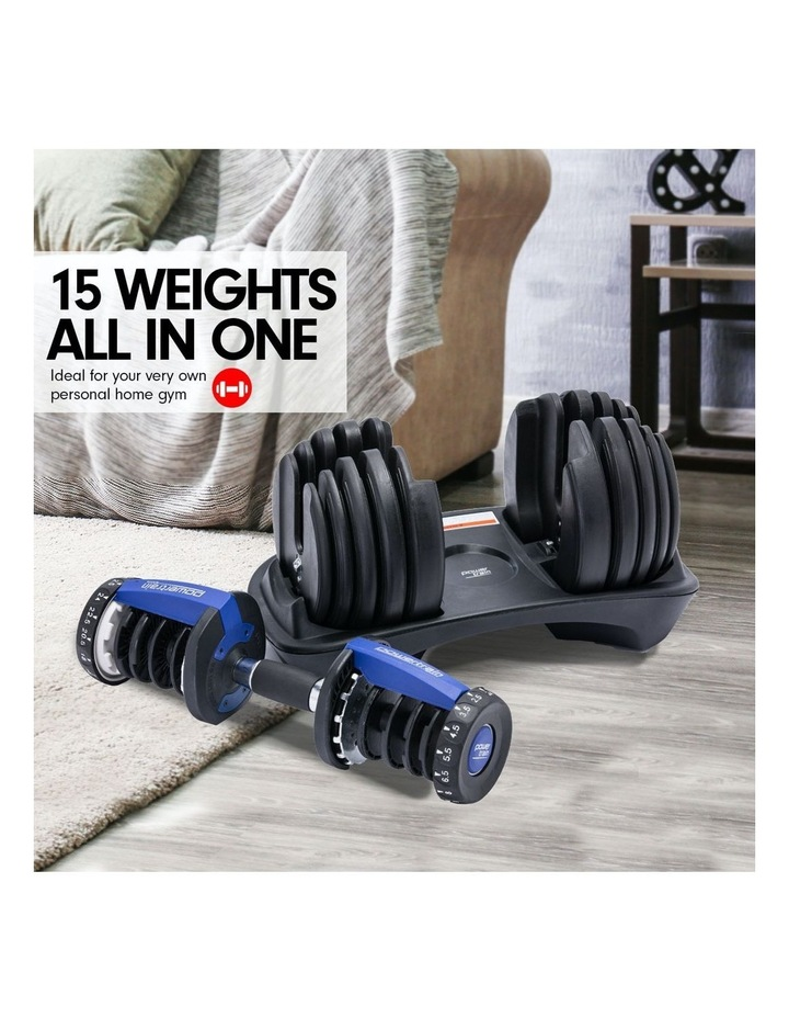 2x 24kg Adjustable Dumbbells Weight w/ Stand 10433 Bench Blue image 2