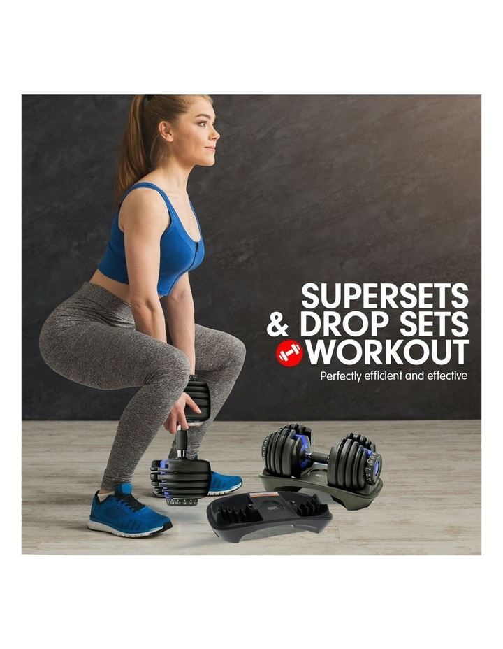 2x 24kg Adjustable Dumbbells Weight w/ Stand 10433 Bench Blue image 4