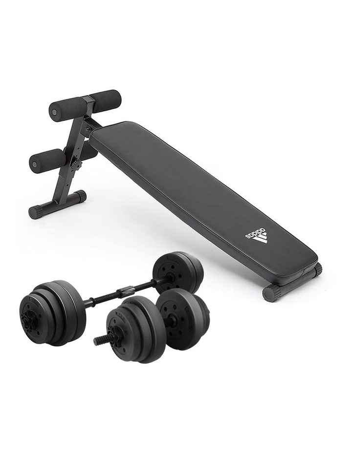 20kg Dumbbell Home w/ Adjustable Adidas 10433 Abs Bench image 1
