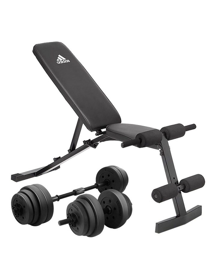 20kg Dumbbell Home Gym Weights w/ Adjustable Adidas 10436 Bench Weights image 1