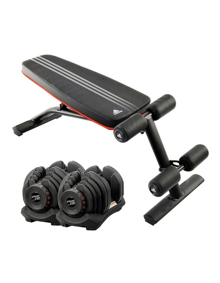 2x 40kg Adjustable Dumbbells  Home Gym with Adidas Bench image 1