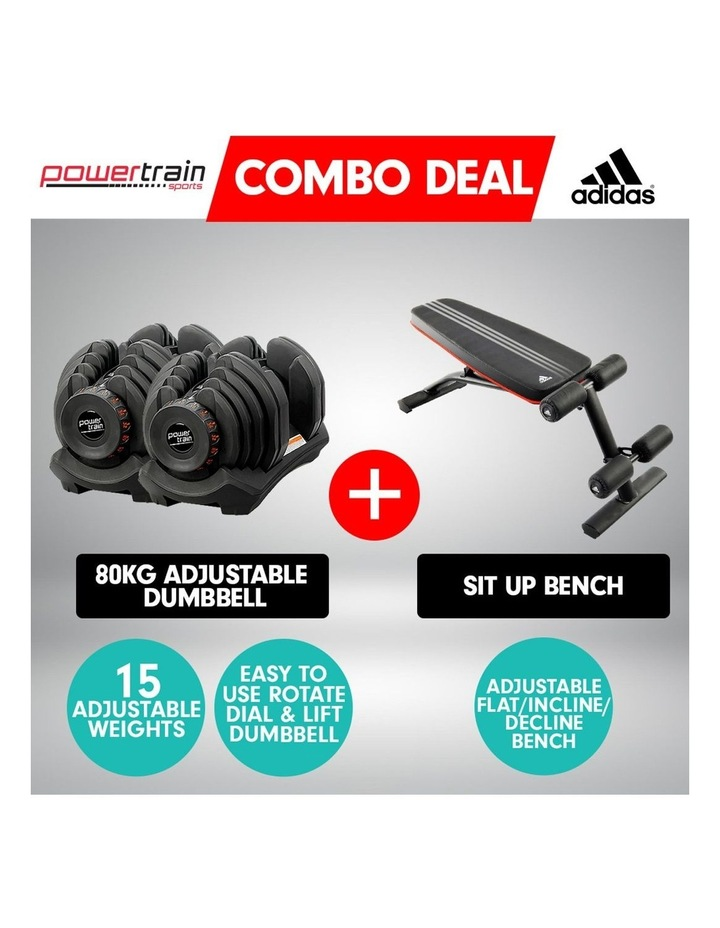 2x 40kg Adjustable Dumbbells  Home Gym with Adidas Bench image 2
