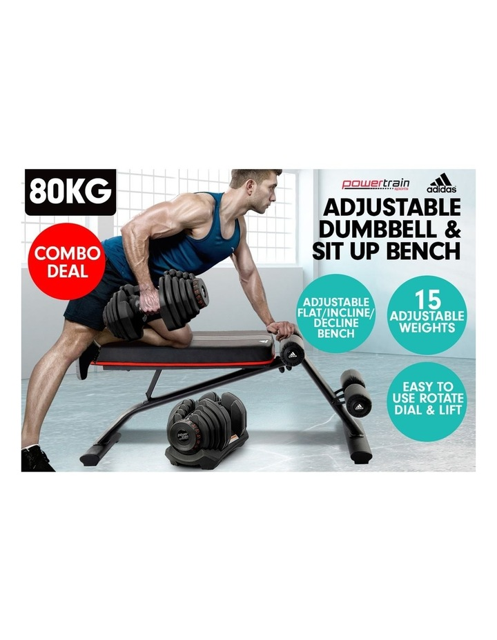2x 40kg Adjustable Dumbbells  Home Gym with Adidas Bench image 3
