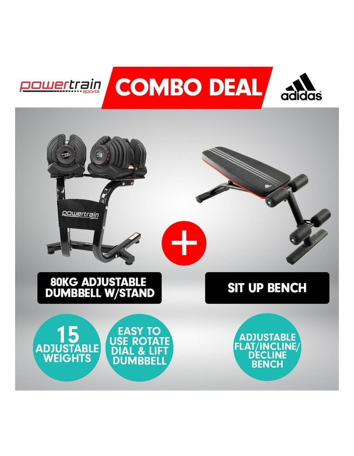 2x 40kg Adjustable Dumbbells and Stand w/ Adidas Bench image 6