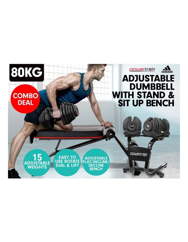 2x 40kg Adjustable Dumbbells and Stand w/ Adidas Bench image 7