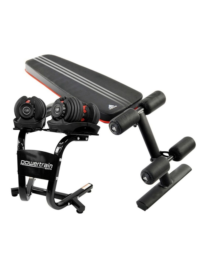2x 24kg Adjustable Dumbbells Weights w/ Stand and Adidas Bench image 1