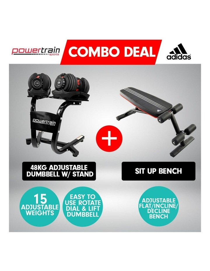 2x 24kg Adjustable Dumbbells Weights w/ Stand and Adidas Bench image 2