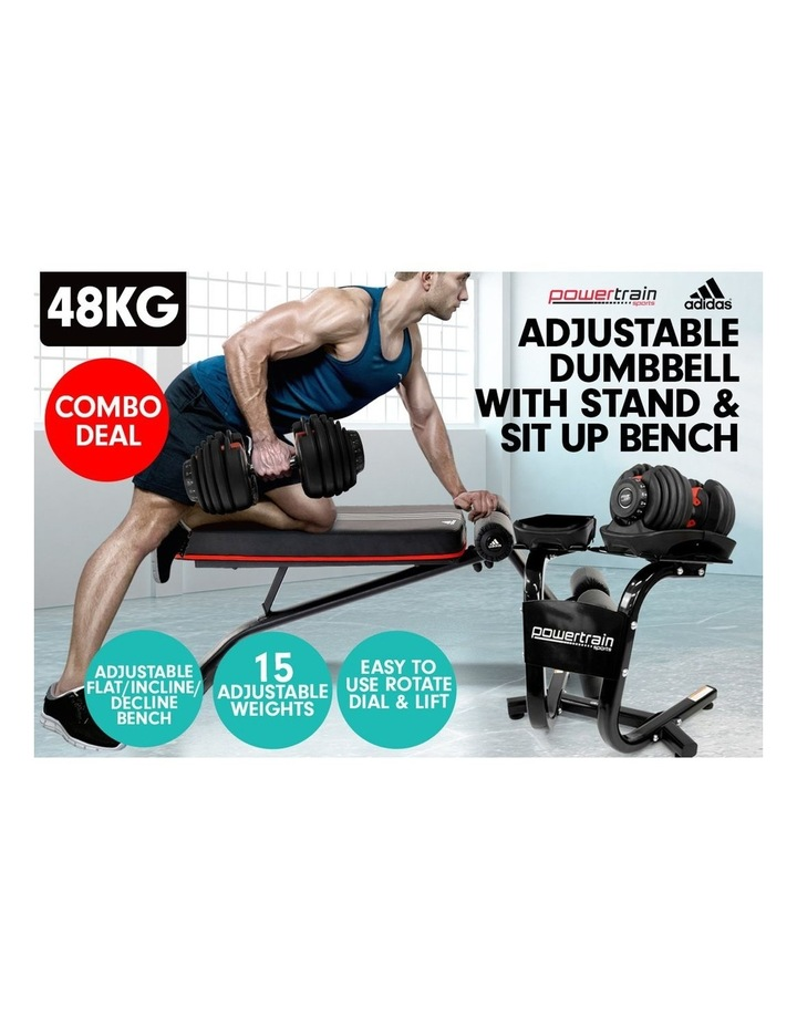 2x 24kg Adjustable Dumbbells Weights w/ Stand and Adidas Bench image 3