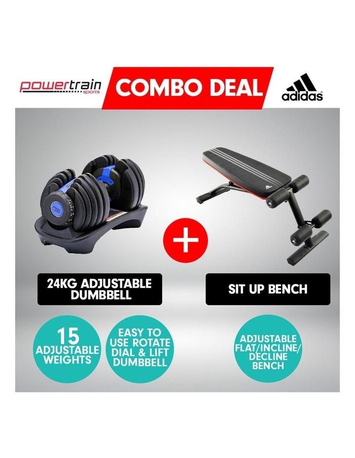 24kg Blue Adjustable Dumbbell w/ Adidas 10230 Adidas Bench image 2
