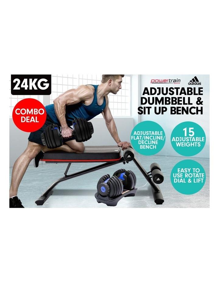24kg Blue Adjustable Dumbbell w/ Adidas 10230 Adidas Bench image 3