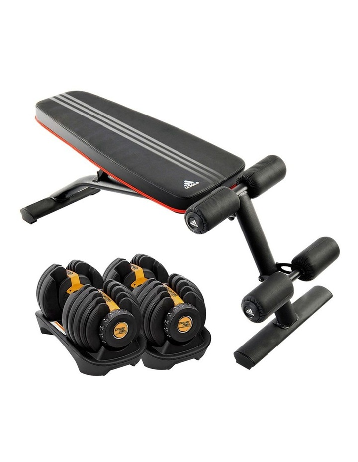 2x 24kg Gold Adjustable Dumbbell Gym Weights w/ 10230 Adidas Bench image 1