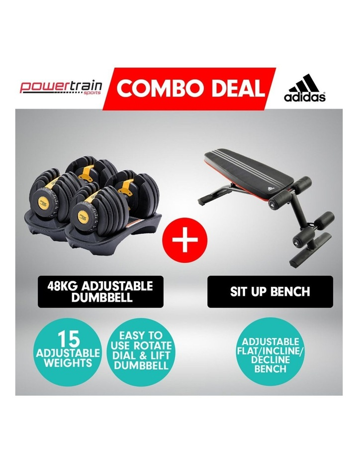 2x 24kg Gold Adjustable Dumbbell Gym Weights w/ 10230 Adidas Bench image 2