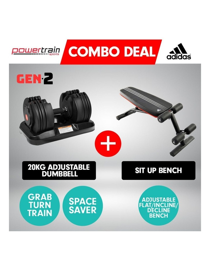 20kg Adjustable Home Gym Dumbbell Weights w/ 10230 Adidas Bench image 2