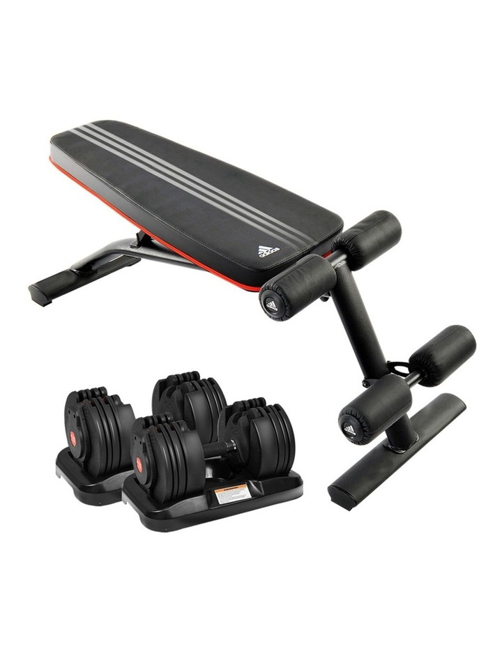 2x 20kg Adjustable Home Gym Dumbbells Weights w/ 10230 Adidas Bench image 1