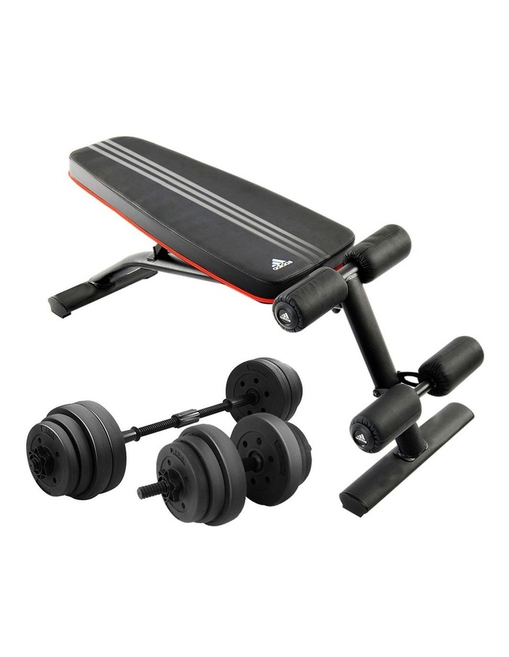 20kg Dumbbell Home w/ Adjustable Adidas 10230 Bench Weights image 1
