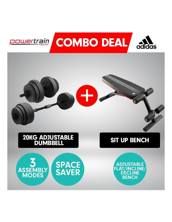 20kg Dumbbell Home w/ Adjustable Adidas 10230 Bench Weights image 3