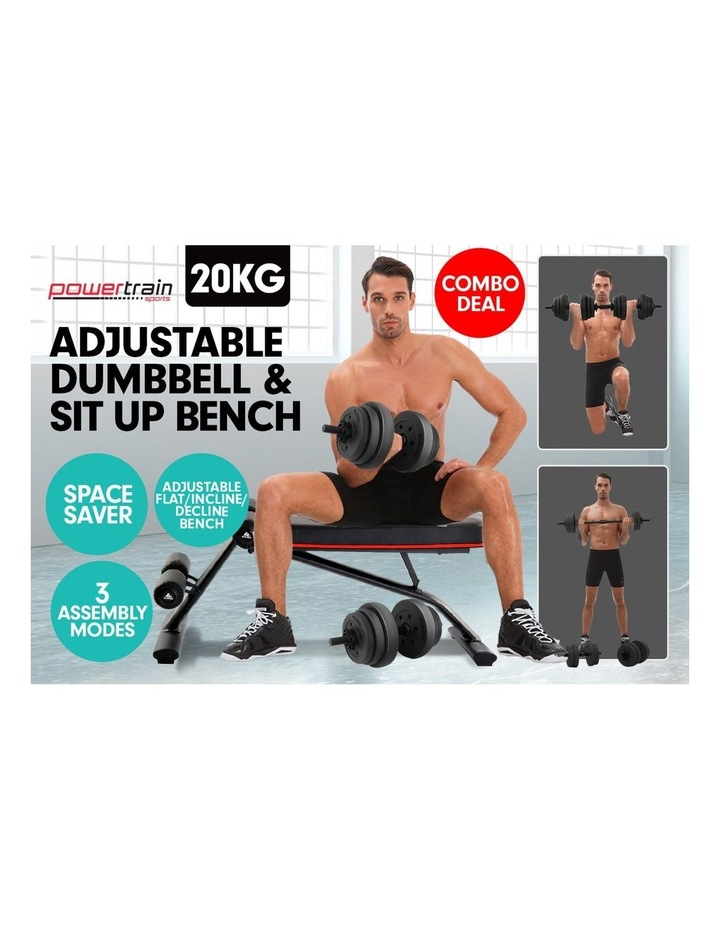 20kg Dumbbell Home w/ Adjustable Adidas 10230 Bench Weights image 4