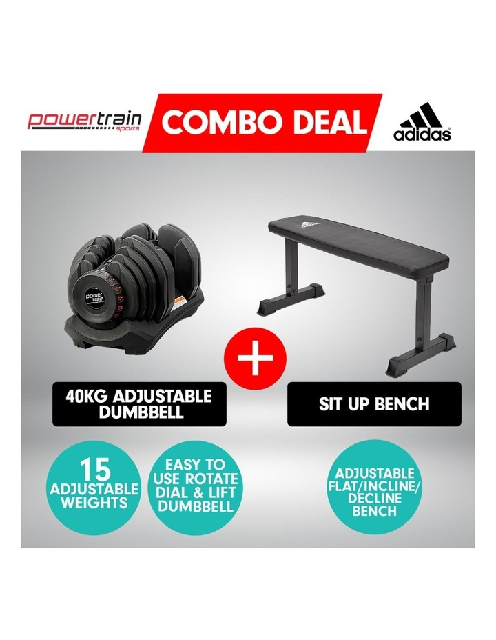 40kg Adjustable Dumbbell  Home Gym Weights w/ Adidas Bench 10437 image 2
