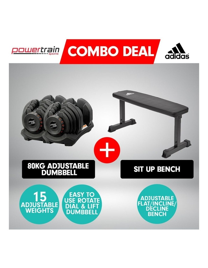 2x 40kg Adjustable Dumbbells  Weights Home Gym w/10437 Adidas Bench image 2