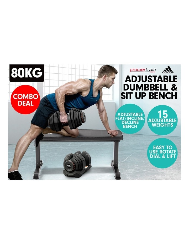 2x 40kg Adjustable Dumbbells  Weights Home Gym w/10437 Adidas Bench image 3