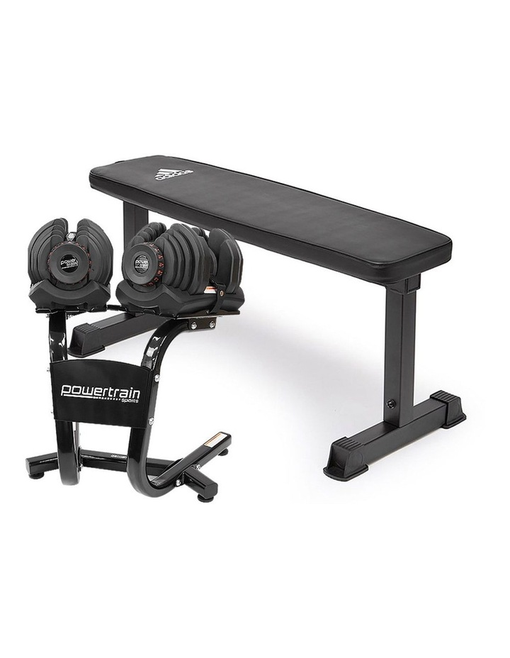 2x 40kg Adjustable Dumbbells Weights and Stand w/10437 Adidas Bench image 1
