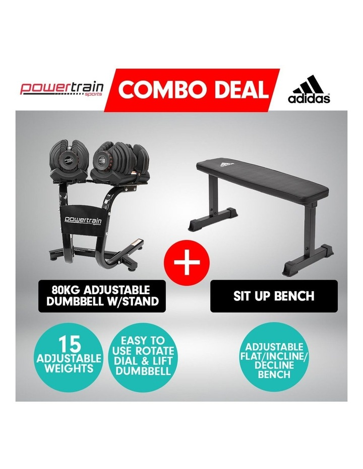 2x 40kg Adjustable Dumbbells Weights and Stand w/10437 Adidas Bench image 2