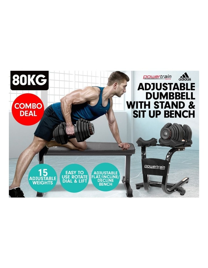 2x 40kg Adjustable Dumbbells Weights and Stand w/10437 Adidas Bench image 3