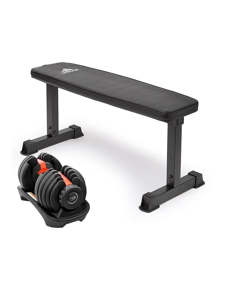 24kg Adjustable Dumbbell Weights w/ Adidas 10437 Exercise Bench image 1