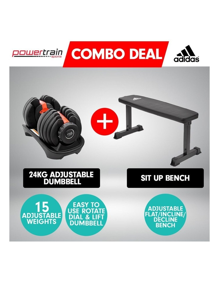 24kg Adjustable Dumbbell Weights w/ Adidas 10437 Exercise Bench image 2