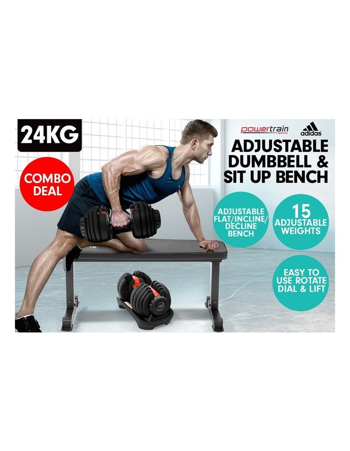 24kg Adjustable Dumbbell Weights w/ Adidas 10437 Exercise Bench image 3