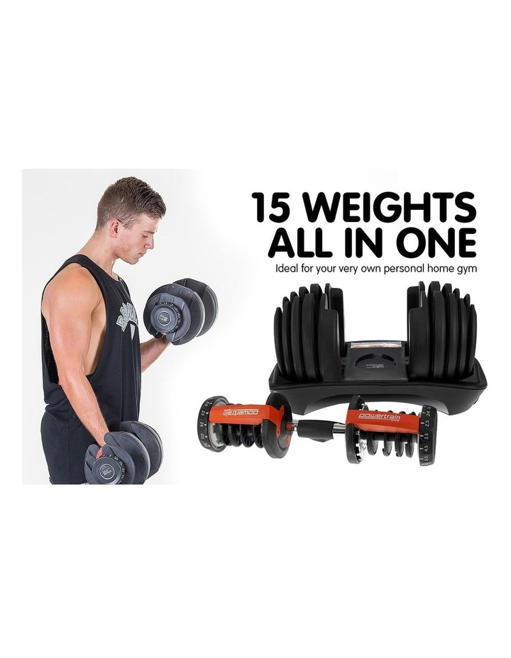 24kg Adjustable Dumbbell Weights w/ Adidas 10437 Exercise Bench image 4
