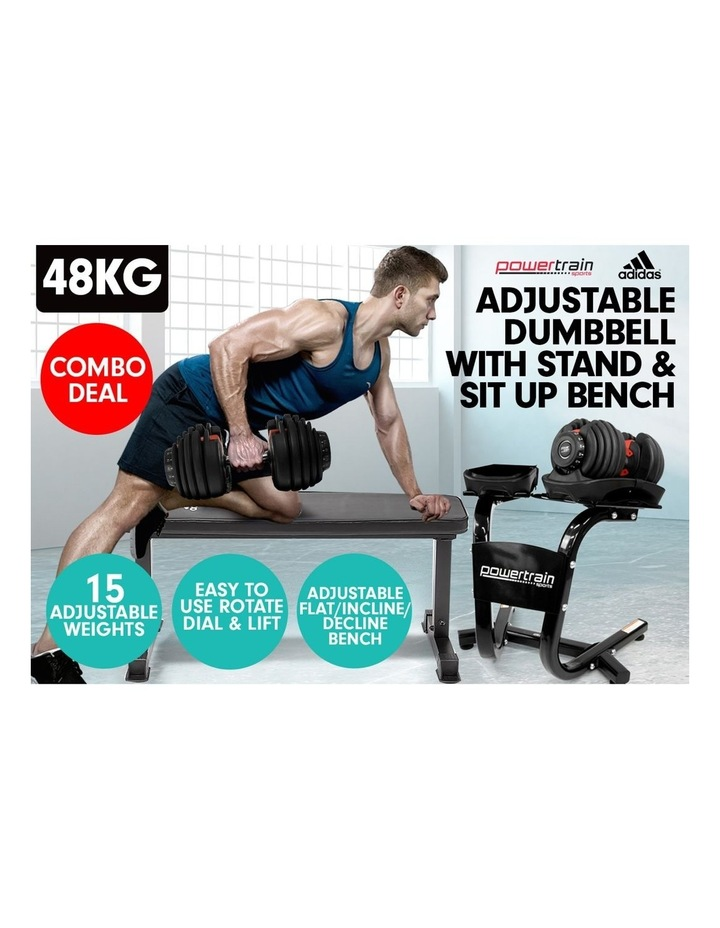 2x 24kg Adjustable Dumbbells Weights w/Stand and 10437 Adidas Bench image 2