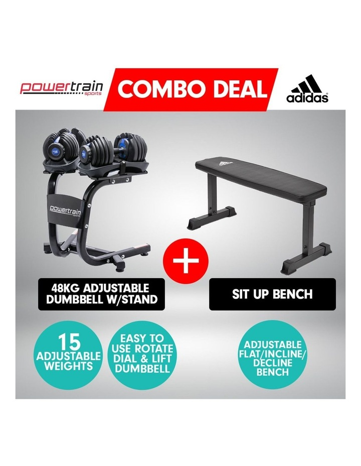 2x24kg Adjustable Dumbbell Set in Blue with Adidas 10437 Gym Bench image 2