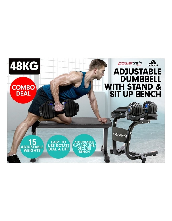 2x24kg Adjustable Dumbbell Set in Blue with Adidas 10437 Gym Bench image 3