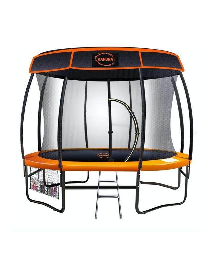 Kahuna 10ft Trampoline Free Safety Net Spring Pad Roof Mat Ladder  - Orange image 1