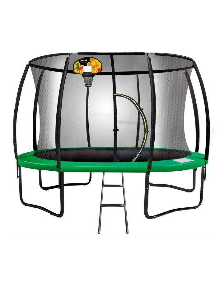 Kahuna 14ft Round Trampoline Spring Safety Net Pad Cover Mat Free Ladder Basketball Set Green image 1