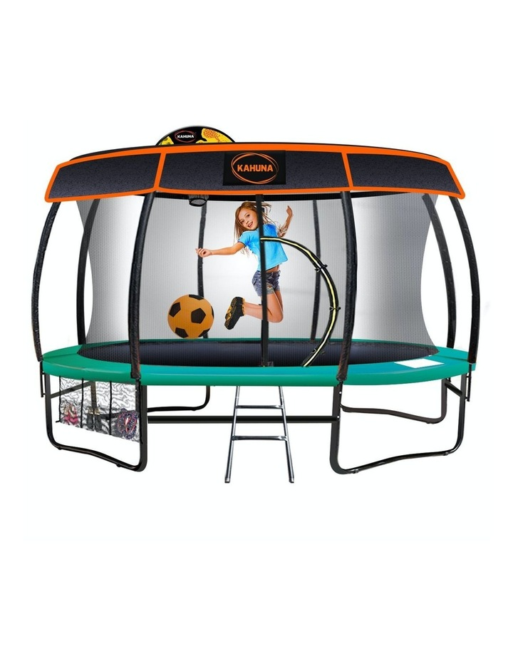 Kahuna New 14ft Trampoline Free Safety Net Spring Mat Pad Roof Ladder Basketball Roof- Green image 1