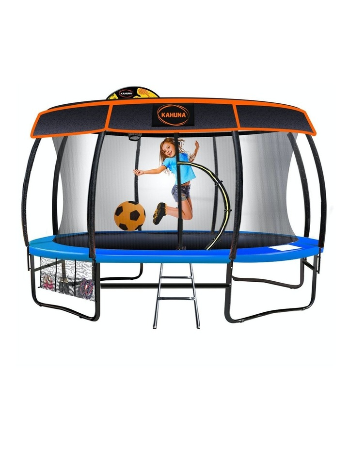 New Kids Gift Kahuna 14ft Trampoline Free Safety Net Spring Pad Mat Roof With Basketball Orange/Blue image 1