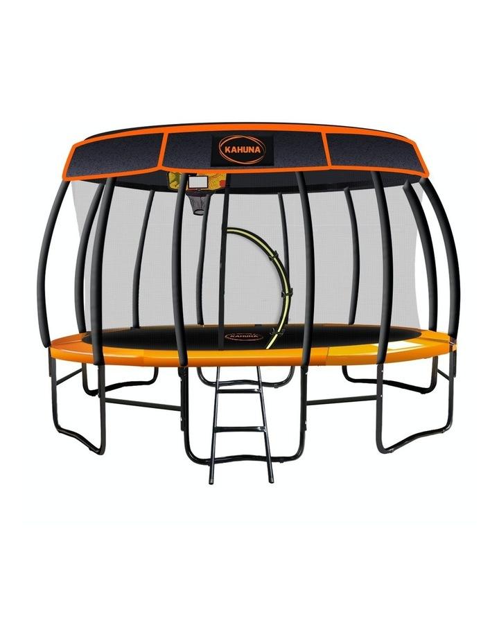 New 14ft Trampoline Free Safety Net Spring Rainbow Pad Roof Mat Ladder Basketball - Orange image 1