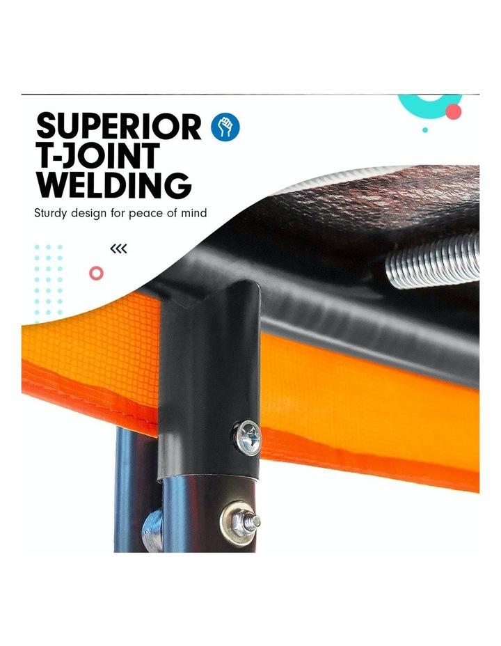 New 14ft Trampoline Free Safety Net Spring Rainbow Pad Roof Mat Ladder Basketball - Orange image 6