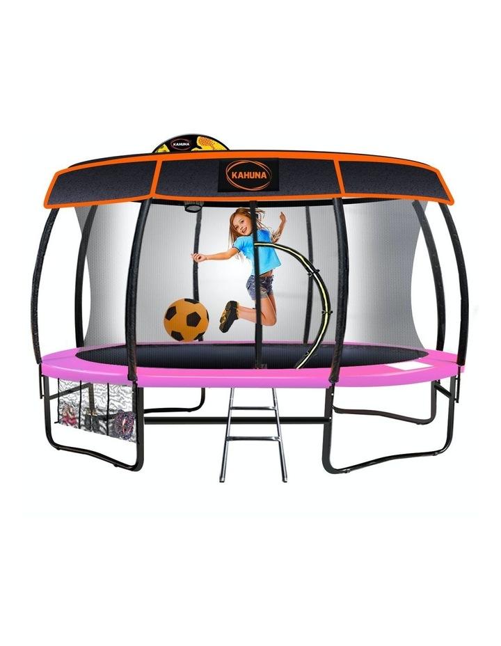 Kahuna 14ft Trampoline Free Safety Net Spring Pad Roof Mat Ladder Basketball - Pink image 1