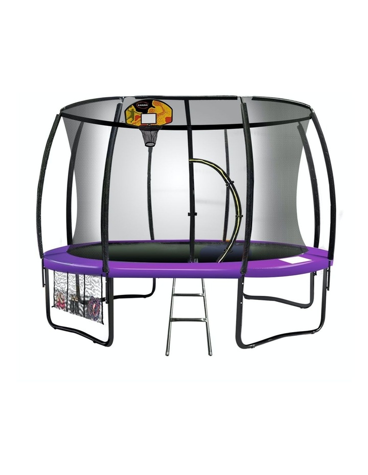 Kahuna 14ft Trampoline Free Safety Net Spring Pad Cover Mat Basketball Set Purple image 1