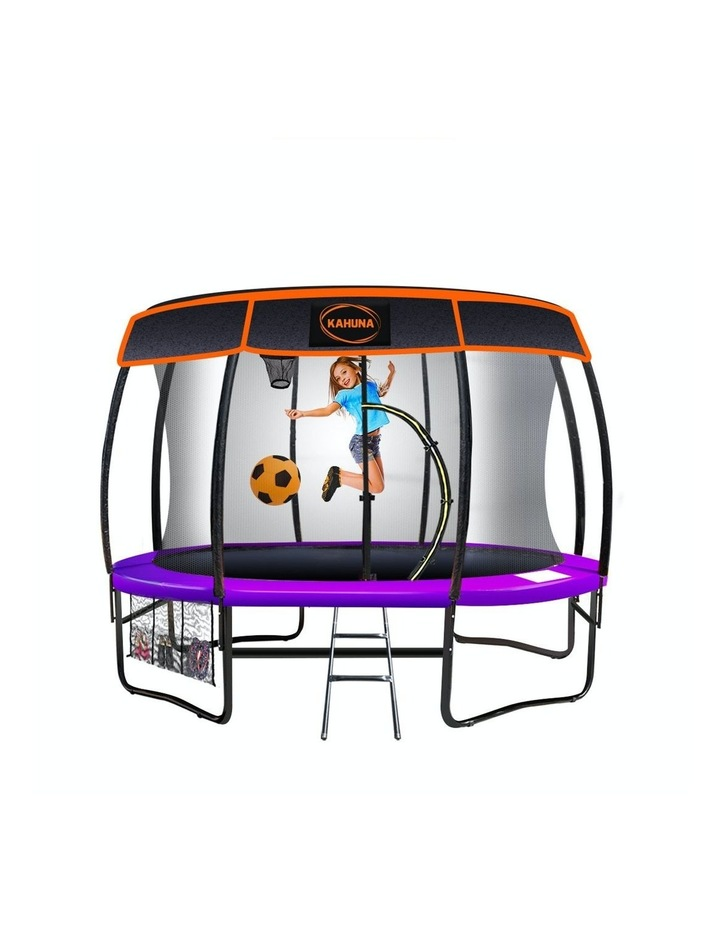 Kahuna 14ft Trampoline Free Safety Net Spring Pad Cover Mat Roof Basketball Set Purple image 1