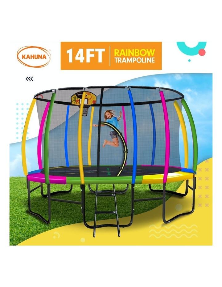 Kahuna Trampoline 14ft with Basketball Set Mat Pad- Rainbow image 2