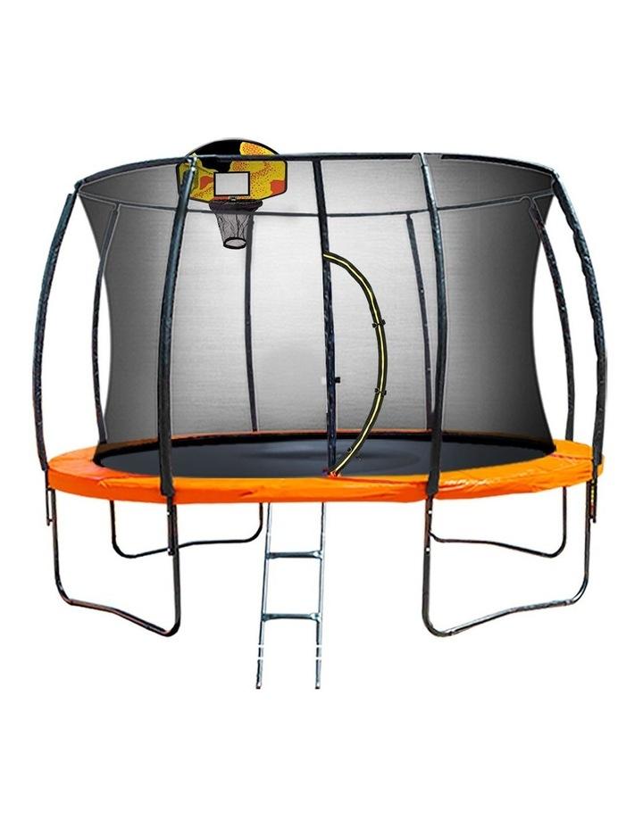 Kahuna 16ft Round Spring Trampoline Free Safety Net Pad Cover Mat Ladder Basketball Orange/Blue image 1