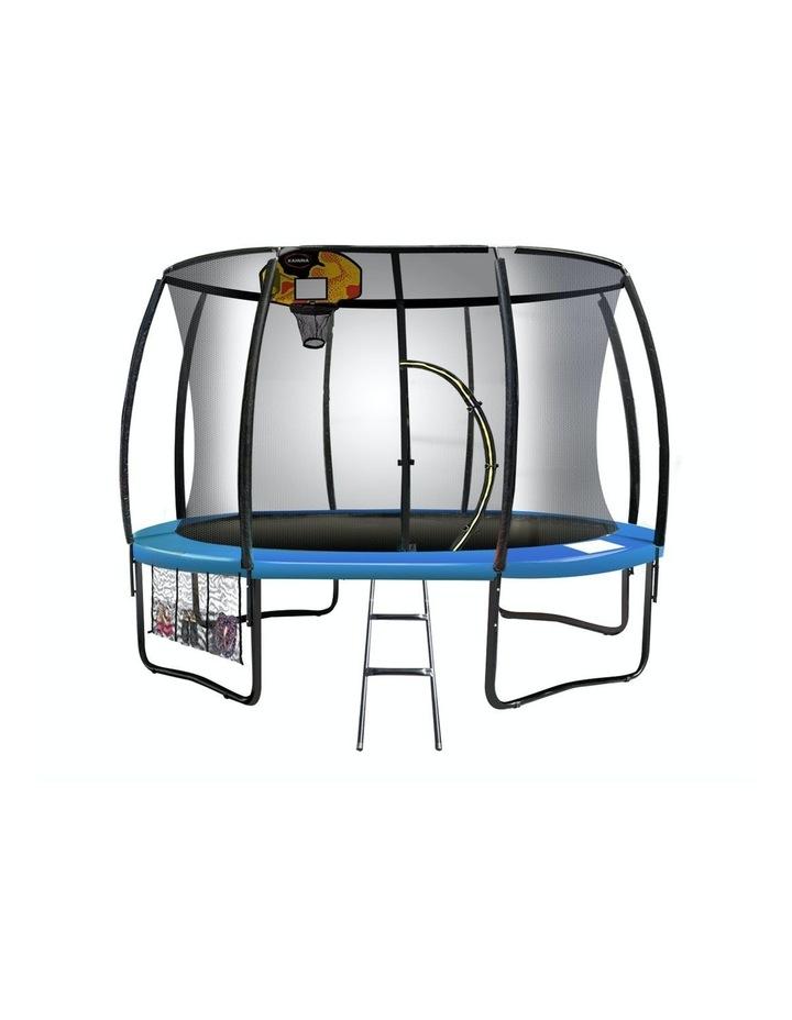 Kahuna 16ft Round Spring Trampoline Free Safety Net Pad Cover Mat Ladder Basketball Orange/Blue image 2